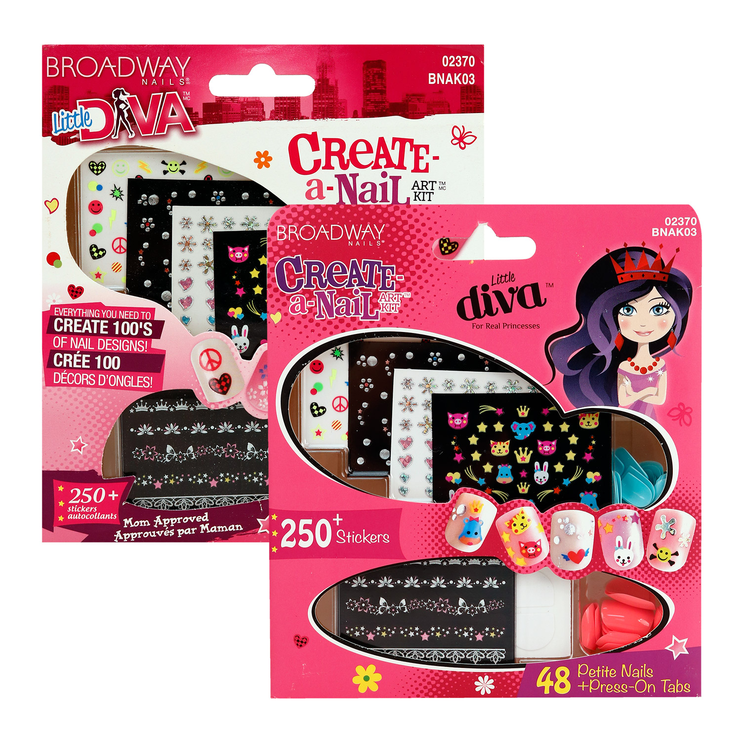 Broadway Little Diva Create-A-Nail Art Kit 48 Nails - Ikatehouse